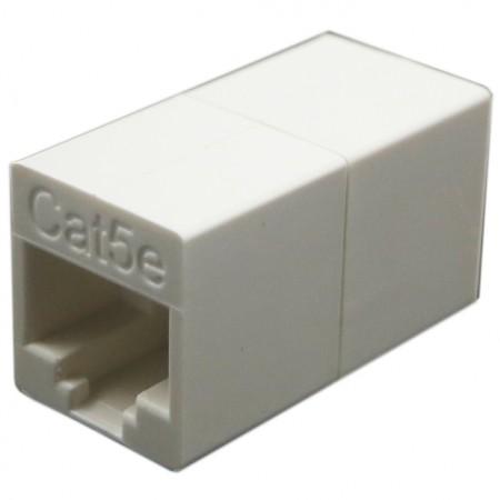 Kat. 5E UTP 180 fokos inline csatoló - c5e UTP, 180 fokos csatoló, hosszabbító funkció, retesz nélkül