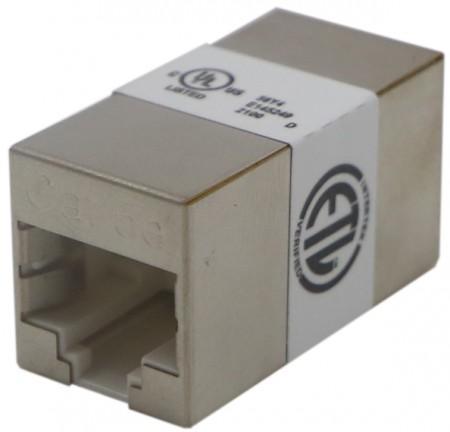 Kat. 5E FTP 180 fokos inline csatoló - c5e FTP, 180 fokos csatoló, hosszabbító funkció, retesz nélkül