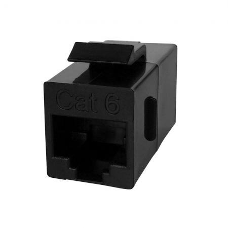 Cat.6 UTP 180 fokos inline csatoló, fekete - Cat6 UTP 180 fokos inline csatoló