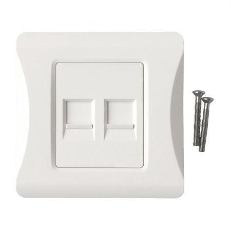 British Style Faceplate 2 port With shutter - British Style Faceplate 2 port with shutter, 86*86mm