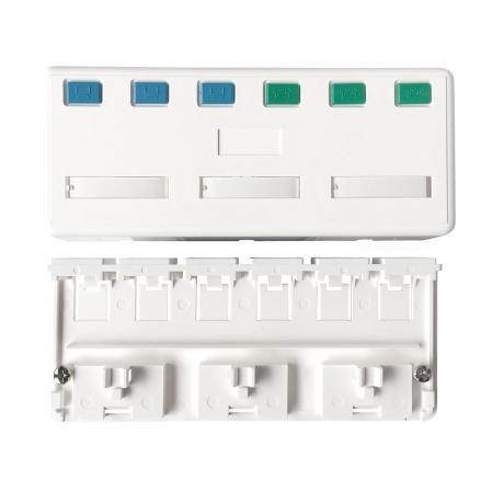 Tehermentesített felületszerelő doboz 6 port - Tehermentesített felületszerelő doboz 6 port