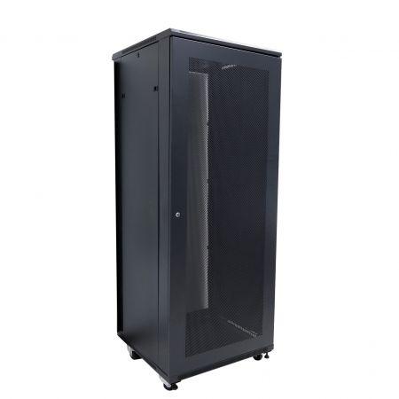 37U SPCC hálózati rack szekrény - SPCC hálózati szekrény elülső edzett üvegajtóval, fogantyús zárral
