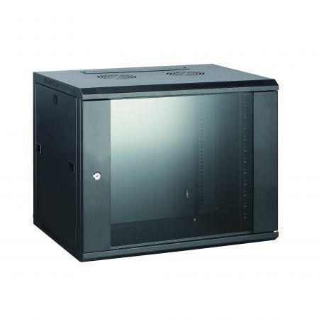 6U SPCC fali állványos szekrény - SPCC falra szerelhető szekrény elülső edzett üvegajtóval, kis kerek zárral