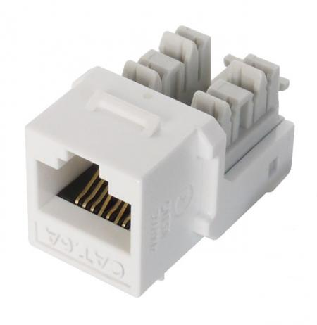 Cat 6A UTP 90° 110 Punch Down RJ45 Keystone Jack - Cat 6A component level, Unshielded, 90 degree, 110 punch down, white color