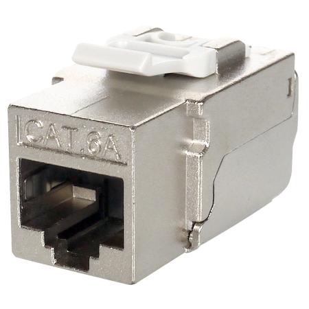 Cat.6A STP بزاوية 90 درجة بدون أداة كيستون جاك - Cat.6A RJ45 KSJ ، محمية بالكامل ، مستوى المكونات