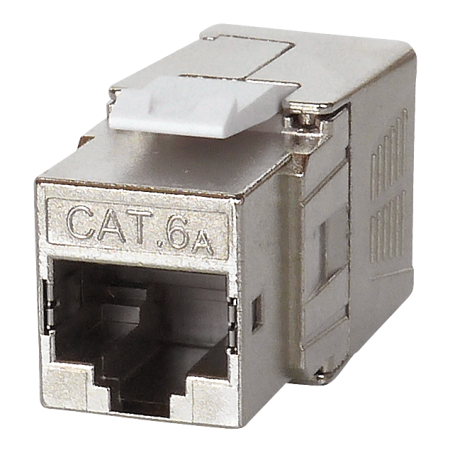 Cat 6A STP 180° Toolless RJ45 Keystone Jack - Cat 6A component level performance, full shielded,  180 degree, Toolless