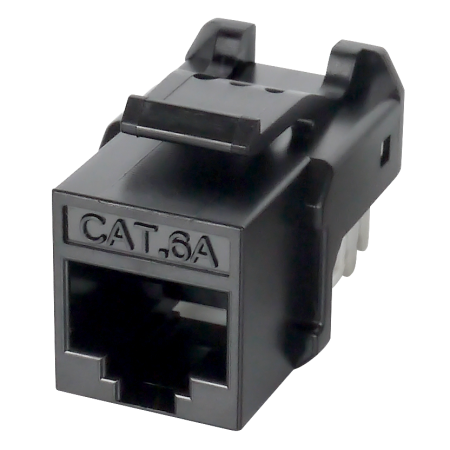 Cat 6A UTP 90° 110 Punch Down RJ45 Keystone Jack - Cat 6A component level, Unshielded, 90 degree, 110 punch down, black color