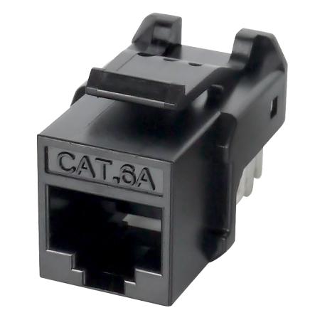 Cat.6A UTP 90 درجة 110 كيستون جاك - مستوى مكون Cat.6A ، غير محمي ، 90 درجة ، 110 درجة لأسفل ، لون أسود
