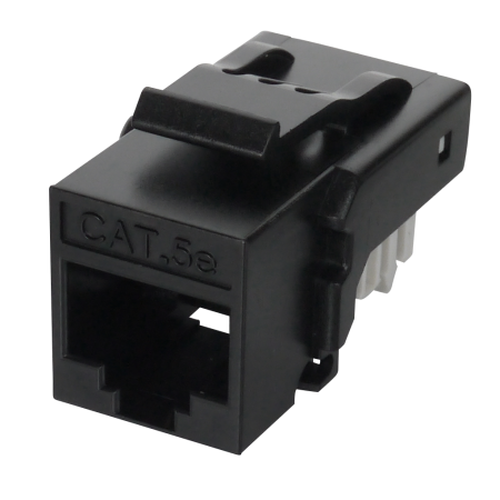 Cat5E UTP 90° Toolless RJ45 Keystone Jack - Cat5E 90 degree toolfree unshielded, black color