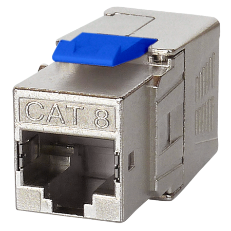 Cat 8 RJ45 FTP Toolless Keystone Jack - Cat 8 channel level performance, full shielded, 180 degree, Toolless