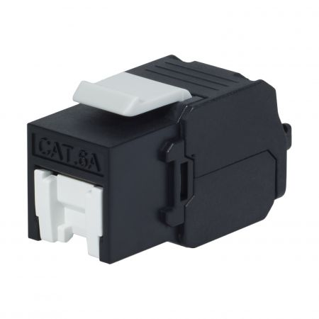 Cat. 6A UTP 180 Degree Tool Free Keystone Jack With Shutter, Black - Cat 6A UTP 180 Degree Toolless Keystone Jack with shutter
