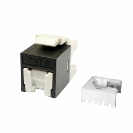 Cat6 UTP 180° 110 and Krone Punch Down RJ45 Keystone Jack Black color