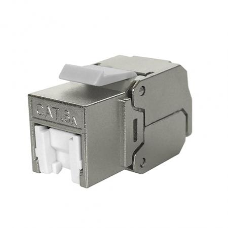 Cat 6A STP 180° Toolless RJ45 Keystone Jack With White shutter - Cat 6A FTP 180 Degree Toolless Keystone Jack with shutter