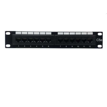 Cat5E UTP 180° 1U 12 PORT RJ45 Patch Panel - Cat5e UTP Patch Panel