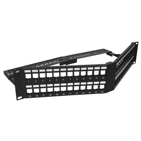 2U 48 Port UTP V-Angle Patchpanel - 2U 48port V-Typ-UTP-Patchpanel, faltbar mit Stützleiste