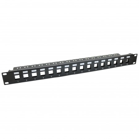1U 16 PORT FTP Blank Patch Panel With SUPPORT BAR - 1U 16 PORT shielded Empty Keystone Panel WITH SUPPORT BAR