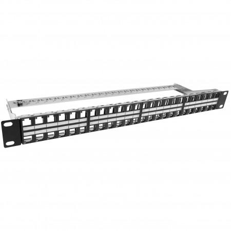 1U 48 PORT Keystone Panel árnyékolt típus - Üres trapéztorzító panel 48 port Árnyékolt