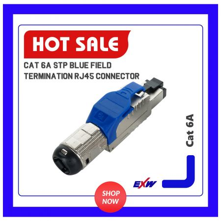 Cat 6A STP Blue Field Termination RJ45 Connector - Cat 6A STP Blue Field Termination RJ45 Connector