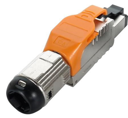 Cat.6A STP térlezáró dugó, narancssárga - Cat.6A teljesen árnyékolt szerszám nélküli dugó