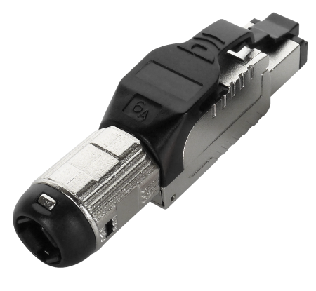 Cat 6A STP Black Field Termination RJ45 Connector
