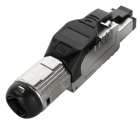 Cat.6A STP Field Termination Plug ، أسود - Cat.6A سدادة محمية بالكامل بدون أدوات