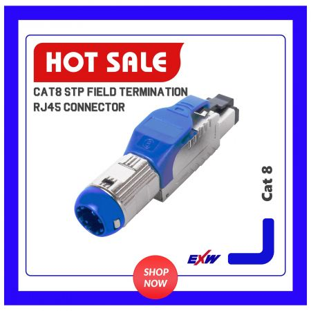 Cat8 STP Field Termination RJ45 Connector - Cat.8 full shielded toolfree plug