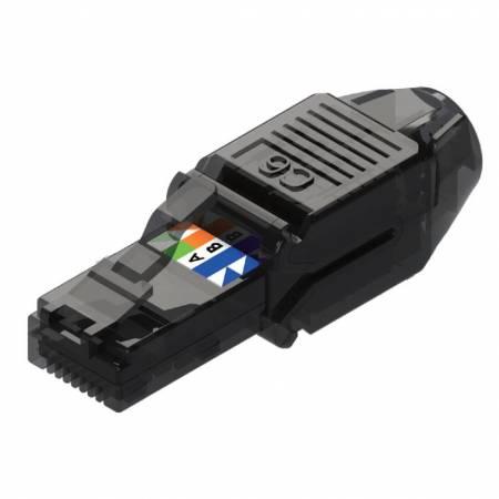 Macska. 6 UTP mező lezáró dugó - Cat6 UTP átlátszó fekete szerszám nélküli RJ45 dugó