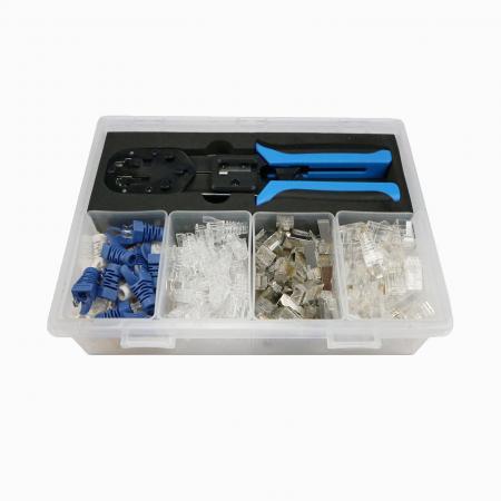RJ45 Werkzeugsatz mit transparenter Box - Handliches Easy Crimpwerkzeug mit transparenter Box