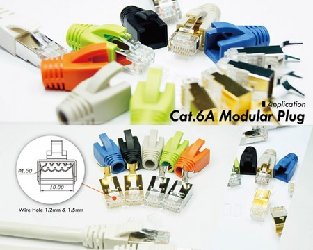 EXW Modular Plug - Cat6A RJ45 Connector and RJ45 Connector boot