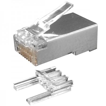 Cat.6 STP moduláris dugó teherrúddal és tapadásmentes retesszel - Cat6 STP RJ45 csatlakozó dugó betéttel