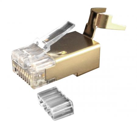 Cat 6A STP Gold Larger Diameter RJ45 Connector - Cat 6A Large Diameter Modular Plugs Golden Color