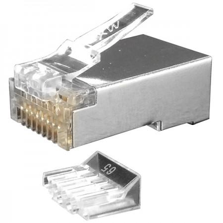 Macska. 6 STP lépcsős moduláris dugó terhelésrúddal (4 Up 4 Down) - Cat6 STP RJ45 csatlakozó dugó