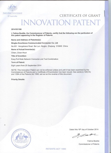 Easy Patch Cord Australia Patent