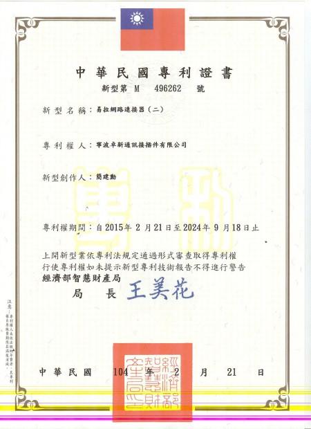 Easy Patch Cord tajvani szabadalom