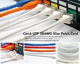 Cat6 UTP 28AWG slim patchkabel