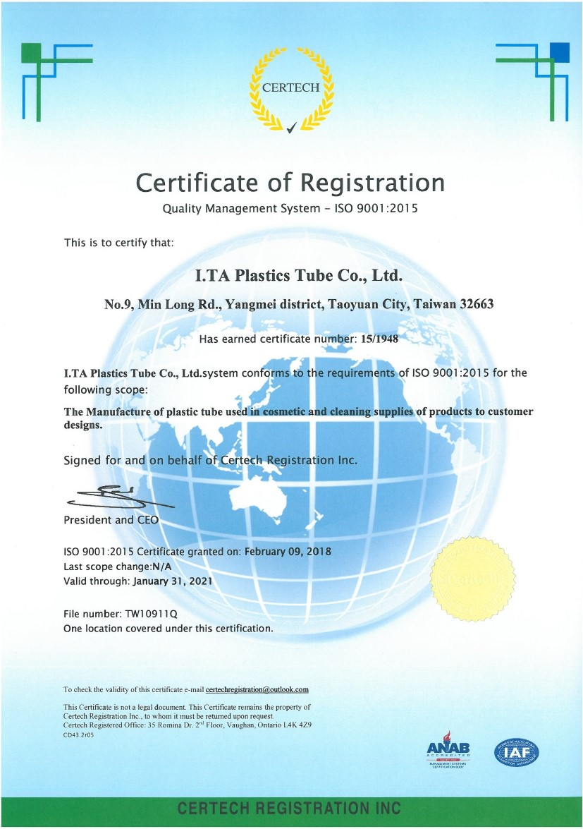 I.TA is ISO9001 qualified cosmetic packaging tube manufacturer.