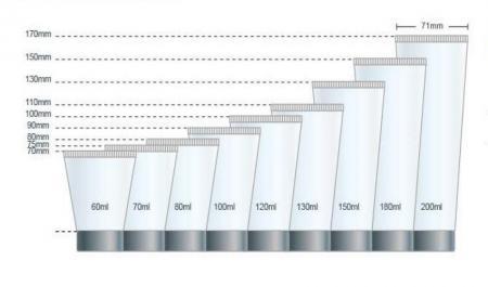 Tabung Perawatan Kulit Diameter Kemasan 45mm Bagan Volume
