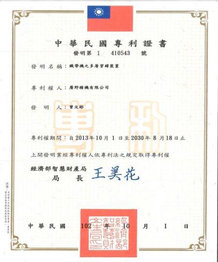 Patente de invenção de máquina de tear de agulha KY