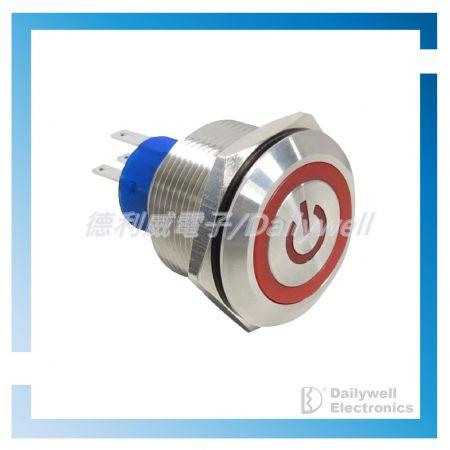 Interruptores tipo botão de pressão antivandálico de 25 mm - Interruptores tipo botão de pressão antivandálico de 25 mm