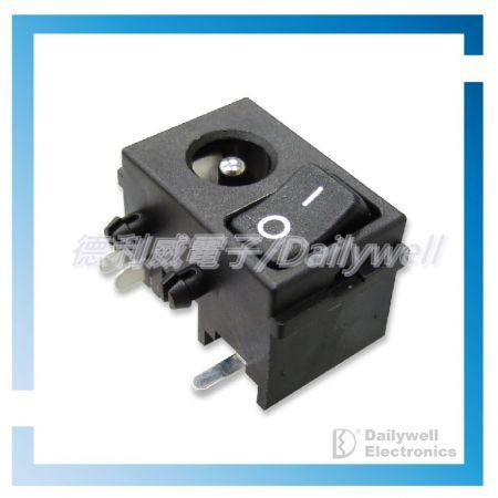 Gniazdo zasilania DC z poziomymi przełącznikami kołyskowymi - Gniazdo zasilania DC z przełącznikami kołyskowymi