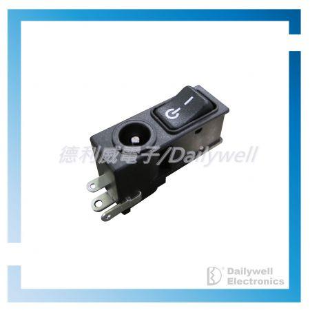 Prise d'alimentation CC avec interrupteurs à bascule - Prise d'alimentation CC avec interrupteurs à bascule