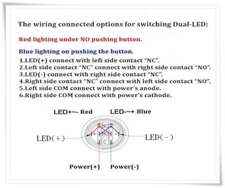 kabelové možnosti dvoubarevné LED