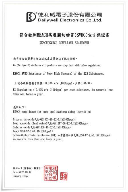 Dichiarazione di conformità REACH (SVHC)