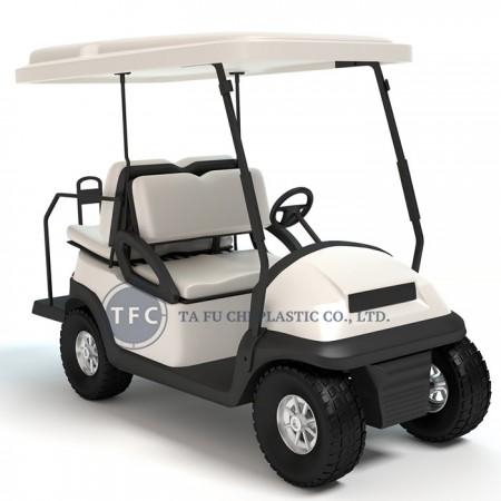 تستخدم عربة الجولف الكثير من المواد البلاستيكية مثل صفائح ABS.