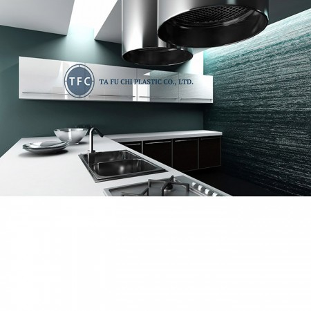 Modern kitchen is made by high gloss acrylic sheet.
