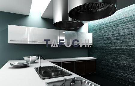 A combinação perfeita de painéis de acrílico de alto brilho para utensílios de cozinha e bordas de acrílico torna a cozinha mais refrescante sem absorção de óleo.