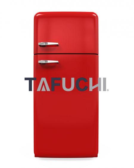 Cangkang lemari es menggunakan lembaran akrilik mengkilap. Lembaran akrilik high-gloss berwarna cerah membuat lemari es berwarna-warni dan indah.