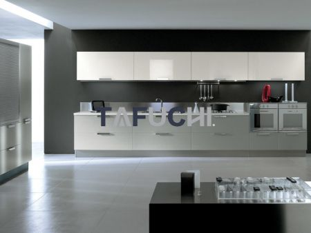 The perfect combination of high-gloss acrylic sheet panels and acrylic edge banding are looking fashional.