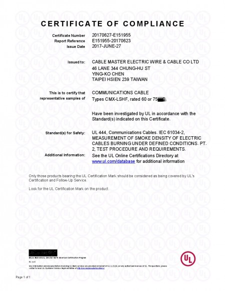 E151955-4.1 Certificate of Compliance