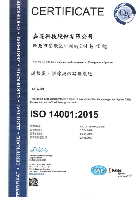 ISO 14001, 2017-2020 CH